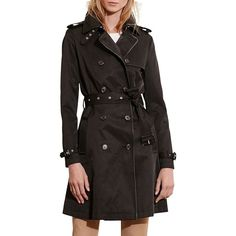 Lauren Ralph Lauren Women's Faux-Leather-Trim Trench Coat ($240) ❤ liked on Polyvore featuring outerwear, coats, black, lauren ralph lauren coat, double breasted coat, lauren ralph lauren, double-breasted coat and double-breasted trench coat
