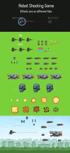 Robot Shooting Game Sprite - Sprites Game Assets