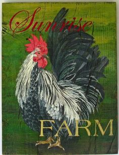 Rooster Original acrylic painting Sunrise by johnandgigiathome