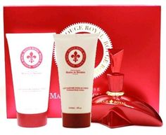 Rouge Royal by Marina De Bourbon, 3 Piece Gift Set for Women by Marina de Bourbon. $36.99. Product:Rouge Royal. Design House:Marina De Bourbon. Gift Set includes a 3.4 oz Eau De Parfum Spray, a 3.4 oz Perfumed Body Lotion and a 3.4 oz Shower Gel. Rouge Royal by Princesse Marina De Bourbon is a Floral Fruity fragrance for women. Rouge Royal was launched in 2002. Top notes are wild strawberry, black currant and lime. Middle notes are jasmine, ylang-ylang and lily-of-the-valley. Ba...