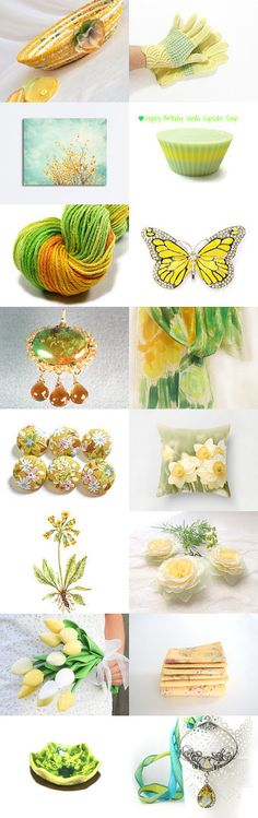 Pretty. by Yelena C on Etsy-- #etsy #treasury #yellow #basket #bowl #summer #lemon #butterfly #canary Pinned with TreasuryPin.com