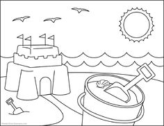 Free Online Beach Colouring Page Kids Activity Sheets Australiana
