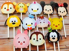 This listing is for ONE set of 12 images of tsum tsum cupcake toppers These toppers are printed on nice glossy paper. All cupcake toppers come with white 4inch lollipop sticks. *these toppers are single sided If you need any other characters please message me. Please dont forget to check out my site for other various matching items such as paper straws, cupcake toppers, favor tags, party bags and more