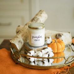 Our pumpkin spice candle takes you to a warm place, sipping on your favorite pumpkin spice latte while making a warm pumpkin pie, with a wood burning fire glowing in the distance.  You look outside to see leaves are falling outside and you can feel a cris