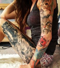 This girl really loves nature ..... wolf deer ladybug bird and cub tattoos