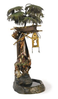 """Fonderie Franz Bergman 1838 - 1894 AUSTRIAN """"OASIS,"""" A LARGE TABLE LAMP with the Bergman seal polychrome cold-painted bronze and glass"""