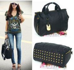 Korean Women Faux Leather Nails Rivet Tote Bronze Hobo Handbags Shoulder  Bags  4186203e6984d