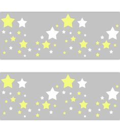 STAR NURSERY DECAL Wallpaper Border Yellow White Grey Gray Stickers Baby Boy Girl Gender Neutral Room Decor Childrens Bedroom Kids Moon Art #decampstudios