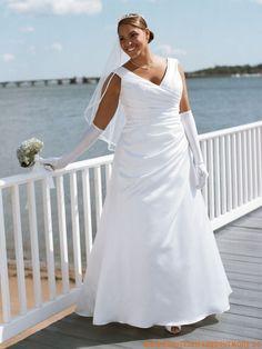 2013 Großes schönes Brautkleid aus Seide V-Ausschnitt