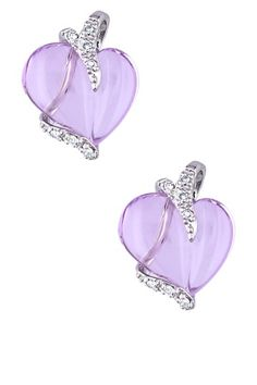 10K White Gold Pave Diamond & Rose de France Heart Stud Earrings by Brighten Up: Colored Jewels on @HauteLook
