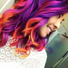 { from perfect idea to have a sunset hair color combo! D… - New Hair Design Bright Hair Colors, Red Hair Color, Cool Hair Color, Purple Hair, Red Purple, Bright Colored Hair, Color Red, Coloured Hair, Purple Ombre
