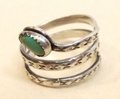 Vtg Sterling Silver Rattlesnake Ring Turquoise Snake Head Etched Coil Band Sz 10