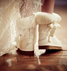 Don't know if I truly would wear these, Different. But cute! FOR A WINTER WEDDING.