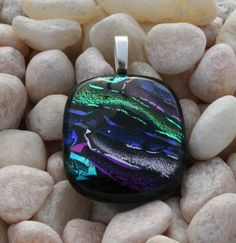 Remembrance Cremation Jewelry, Mosaic style. Your pet or loved one's ashes will be fused between the layers of glass into a heart shape and they will be seen from the back of the pendant. By   addicted2glassfusion.artfire.com