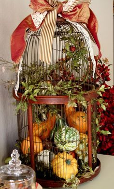 Stuff a birdcage with mini gourds pumpkins and pinecones----Kristen's Creations (she has a beautiful blog)