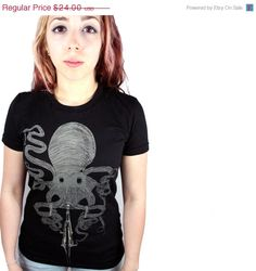 ON SALE Womens OCTOPUS Bicycle american apparel tee S M L Xl (Black)
