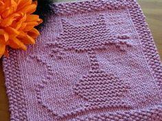 One Crafty Mama: Halloween Cat Dishcloth free knitting pattern Knitting Squares, Dishcloth Knitting Patterns, Loom Knitting, Knitting Stitches, Free Knitting, Baby Knitting, Crochet Patterns, Knitting Needles, Baby Patterns
