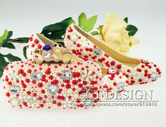 free shipping handmade low high heels ivory and red pearls rhinestone wedding shoes and matching Cross Bones bags