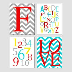 Nursery Quad - Set of Four 11x14 Prints - Chevron Monogram, Modern Alphabet, Numbers, Chevron LOVE - Lemon Yellow, Gray, Aqua, Red, and More. $75.00, via Etsy.