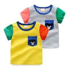MiNiKQ 2017 New Summer Children Casual Cotton Bear Cartoon Stitching Shirts Kids Baby Boys Short Sleeve T-Shirt #Affiliate