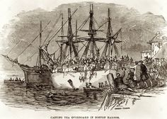 """Illustration from the book """"Songs of by Oscar Brand. """"Throwing the Tea Overboard [The Boston Tea Party]"""". Timeline Images, Legal Questions, Boston Tea, Boston Harbor, Interesting Information, Milwaukee, Sailing Ships, Wisconsin, Places Ive Been"""