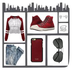 """""""Ghetto Chic"""" by rozlynjanine ❤ liked on Polyvore featuring WithChic, J.Crew, Converse, Vianel, Jewelonfire, Jennifer Fisher and Yves Saint Laurent"""