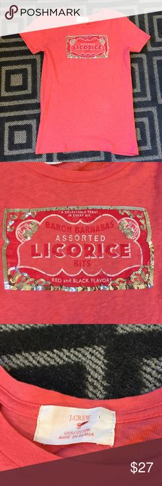 J. Crew Pink T-shirt Licorice with Sequins Size S J. Crew shirt in great condition, size small.  Licorice label graphic trimmed in silver sequins. J. Crew Tops Tees - Short Sleeve