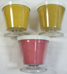 3 Vintage Burlap Straw Weave Raffia Ware Melmac Dessert Pedestal Cup Dish TiKi