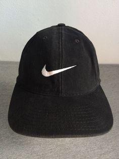 NIKE Hat 90s Vintage Black Baseball Cap 100% Cotton Adjust USA EXCELLENT Rare! #Nike #BaseballCap