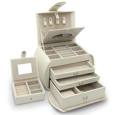 Morelle 'Diana' Leather Jewelry Box with Takeaway Case | Overstock.com Shopping - The Best Deals on Jewelry Boxes