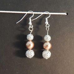 Boucles d'oreille plaquées argent, perles swarowski