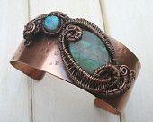 Copper Bangle - Labradorite Cuff -  Wire Wrapped Jewellery Handmade - Labradorite Jewellery - Wire Wrapped Bangle