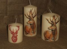 A couple of my Stag candles for Winter 2015-16; rather majestic looking animals, if I say so myself! See more of my napkin decoupage work on www.facebook.com/... and in my Folksy shop folksy.com/shops/YourLovelyHome