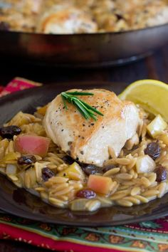 Celebrate the flavors of falls with this recipe for one-skillet chicken featuring orzo, apples, rosemary and raisins. It's easy to cook and easy to clean up!