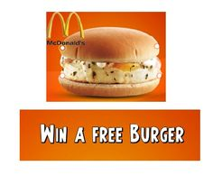 Free McEGG, McGrill or McAloo Tikki Burger from McDonald's created on -- 299 Views -Find Best Online Deals, Offers, Coupons and Free stuff at FreeKaaMaal. Mcaloo Tikki, Mcdonalds, Salmon Burgers, Ethnic Recipes, Connect, Giveaway, Free, Tools, Facebook
