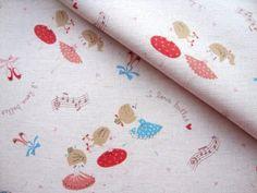 Rabbit Fabric Retro Fabric Bunny Fabric Kids Fabric Japanese Cotton Fabric Animal Print FabricSweet Ballerinaa yard Kokka Fabric