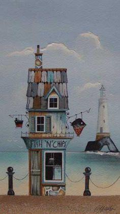 Gary Walton watercolour 'Fish 'N' Chips'