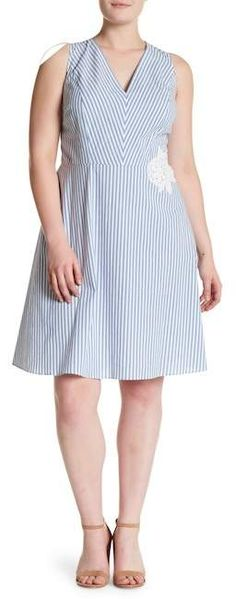 London Times Striped Fit & Flare Dress (Plus Size)