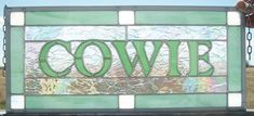 Family Name Sign Stained Glass Window Panel by cityfreeglass
