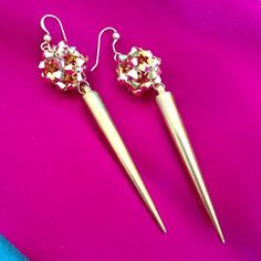 """HP k2o by Karen Ko Spike Drop Glam Earrings Gold plated resin spike drop earrings with 24 karat gold plated Swarovski crystal ball detail. 3.35"""" long. Stunning and sparkly. Worn once. Karen Ko Jewelry Earrings"""