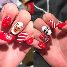 Super cute red and white theme with reindeer, trees, candy cane stripes, star ornaments and Merry Christmas writing Merry Christmas Writing, Christmas Nail Art, Star Ornament, Ornaments, Summer Acrylic Nails, Candy Cane, Reindeer, Red And White, Trees