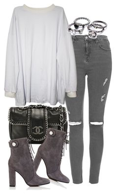"""""""Untitled #1916"""" by victoriamk ❤ liked on Polyvore featuring Chanel, Topshop and Gianvito Rossi"""