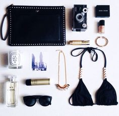 A black + gold kinda flat lay