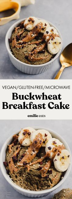Microwave Buckwheat Breakfast Cake (vegan & gluten-free) – Emilie Eats Ready in under 10 minutes, this Microwave Buckwheat Breakfast Cake is a healthy, filling breakfast to make in a hurry. It's vegan, gluten-free, and packed with whole grains! Raw Dessert Recipes, Healthy Vegan Desserts, Raw Food Recipes, Delicious Desserts, Jar Recipes, Freezer Recipes, Healthy Breakfasts, Drink Recipes, Vegan Food