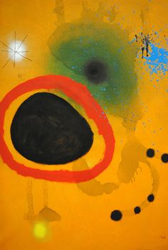 """Joan Miro's """"Cercle Rouge, Etoile (Red Circle, Star)"""", July 13, 1965. Oil and acrylic on canvas."""