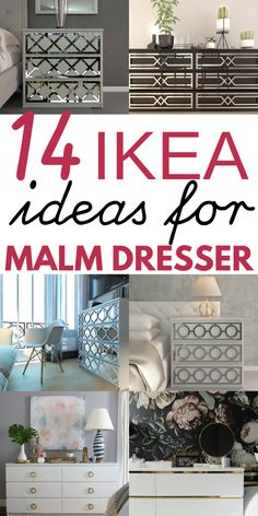 14 Ikea Hacks for MALM dresser. You can turn your old malm dresser into a headboard, nightstand, nursery, desk, vanity and so much more with these easy DIY Ikea Malm dresser hacks! Try some cool Ikea malm hacks today! Ikea Hacks, Ikea Hack Storage, Diy Hacks, Tv Storage, Malm Drawers, Ikea Malm Dresser, Nightstand, Upcycled Home Decor, Easy Home Decor