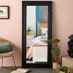 The WEST INDIES Mirror with Black Pine Moulded Frame will make your ceilings look higher. Featuring a black pine moulded frame and beautiful antique e Pink Bedroom Decor, Bedroom Inspo, West Indies, Switzerland House, Window Mirror, Vintage Hawaii, Kiefer, Round Mirrors, Black Decor
