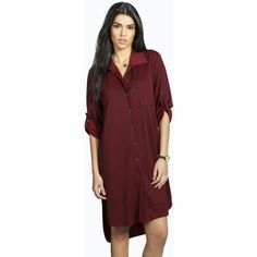 Boohoo Jen Turn Up Cuff Woven Shirt Dress ($30) ❤ liked on Polyvore featuring dresses, wine, layering cami, cocktail dresses, day to night dresses, red evening dresses and red camisole
