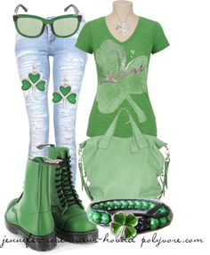 """For the Shamrock of it all :)  """"Untitled #48"""" by jennifer-rosencrans-hovda ❤ liked on Polyvore"""