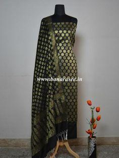 Banarasee/Banarasi Salwar Kameez Cotton Silk Gold Zari Buti Woven Fabric-Black